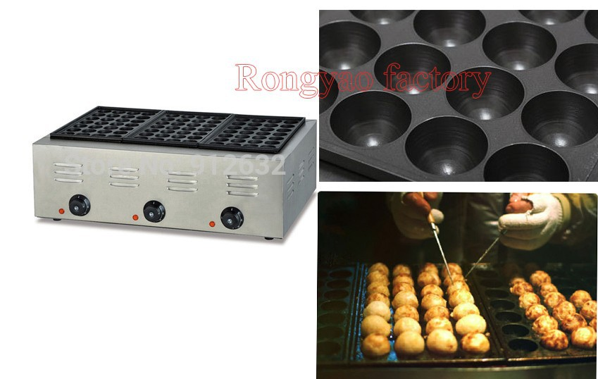 EH-768 Octopus Electric Stainless Steel Fish Pellet PLATE Takoyaki Grill Griddle Making Machine
