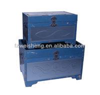 Antique Wooden Storage Trunk In Blue