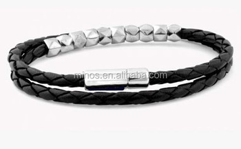 Meaning Of Beauty Care Fashion Leather Bracelet Silver Studded