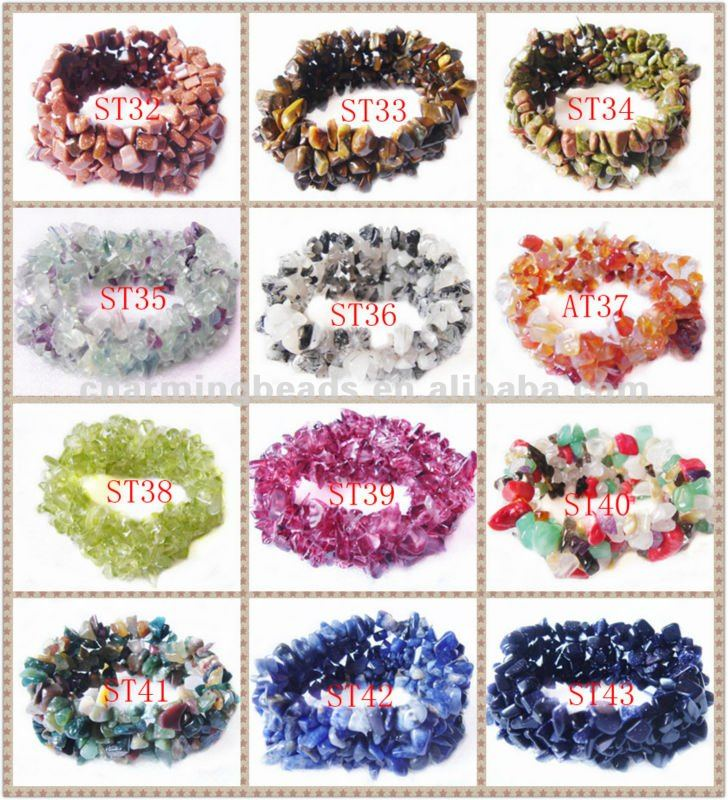 CH-LST0090 gemstone chip bracelet,Semi precious bracelet wholesale 8-14mm Size