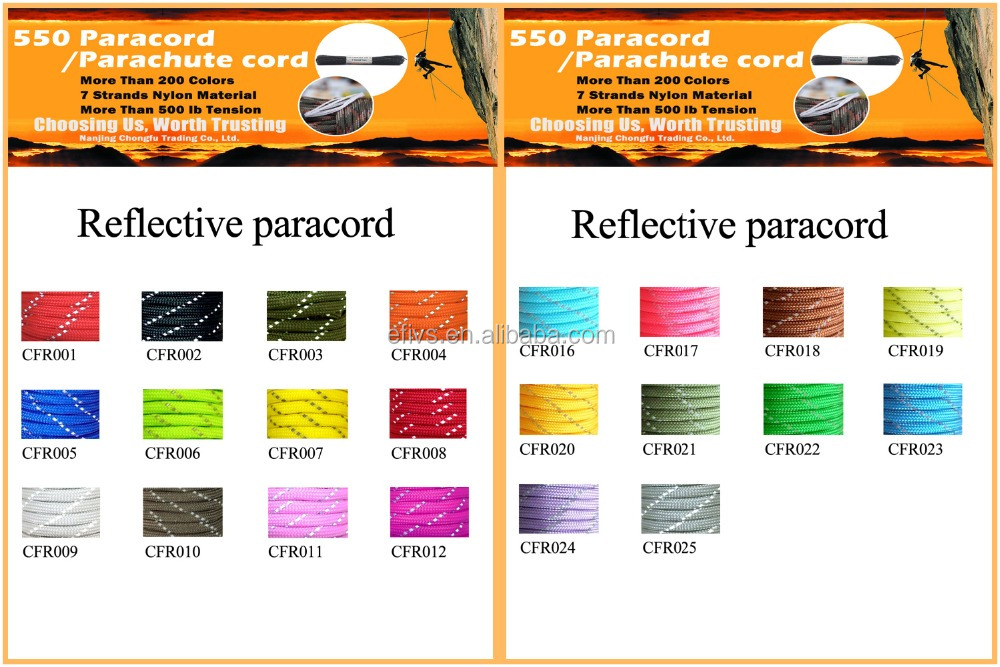 2017 most popular products china real amanufacture wholesale 7 strand 100ft 550 paracord for camping