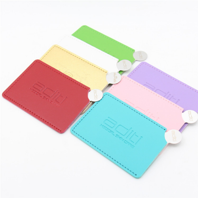 Brushed Metal Stainless Steel Unbreakable Engraved Logo Pocket Mirror With Pu Pouch