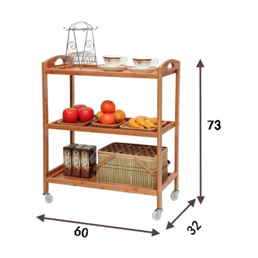 3-Tier Bamboo Wooden Bakers Rack Trolley Free Standing Microwave Oven Stand With Wheel For Kitchen Storage