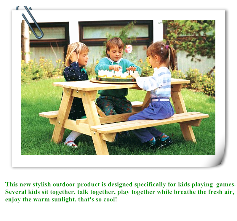 2017 Kids Popular Outdoor Bench Table Chair Set Use For Children