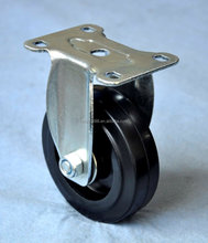 100mm fixed high elasticity plastic core rubber caster wheel