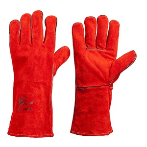 Red cow leather welding gloves working gloves split leather