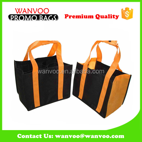 Non woven 6 bottle wine tote bag with partition accept oem odm