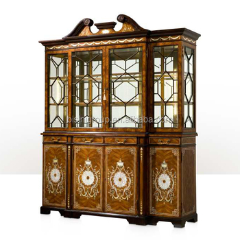 Classical English Edwardian Style Breakfront Bookcase, Exquisite Replica  Showcase Finished With Golden Brass BF11