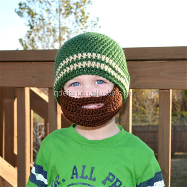 9378fe75796 Winter Knitted Beard Beanie Cute Handmade Crochet Boy Hat - Buy ...