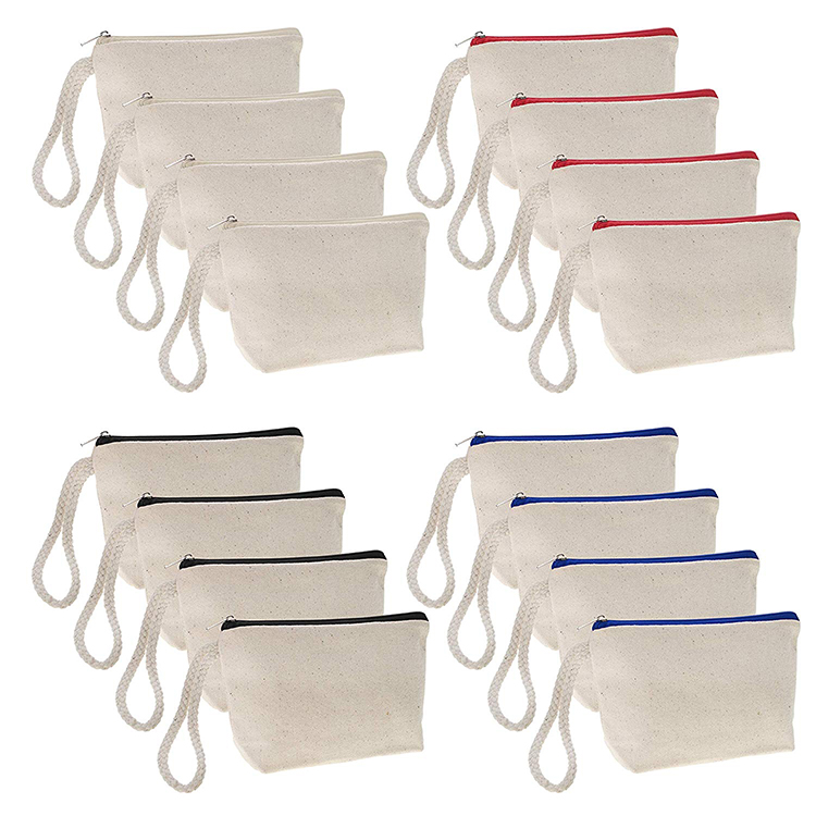 Durable quality cheap white natural blank canvas cosmetic bag with zipper