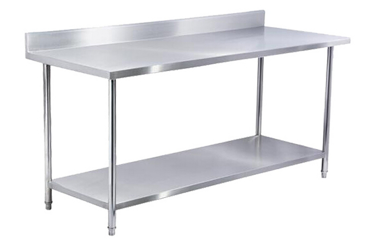 2 Level Commercial Industrial 304 Stainless Steel Kitchen Workbench Work  Table Low Price With Backsplash In