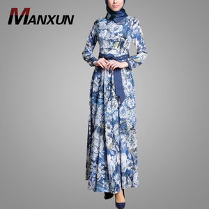 Pakistani Designer Kaftans Fashion Printing Long Sleeve Dubai Abaya Wholesale Arab Jalabiya Muslim Dress