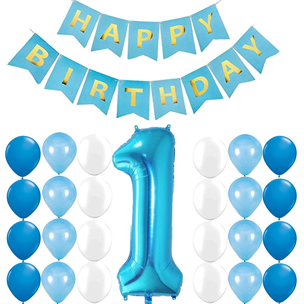 Get Quotations First Birthday Boy Decorations Happy Banner Blue Number One Balloon With
