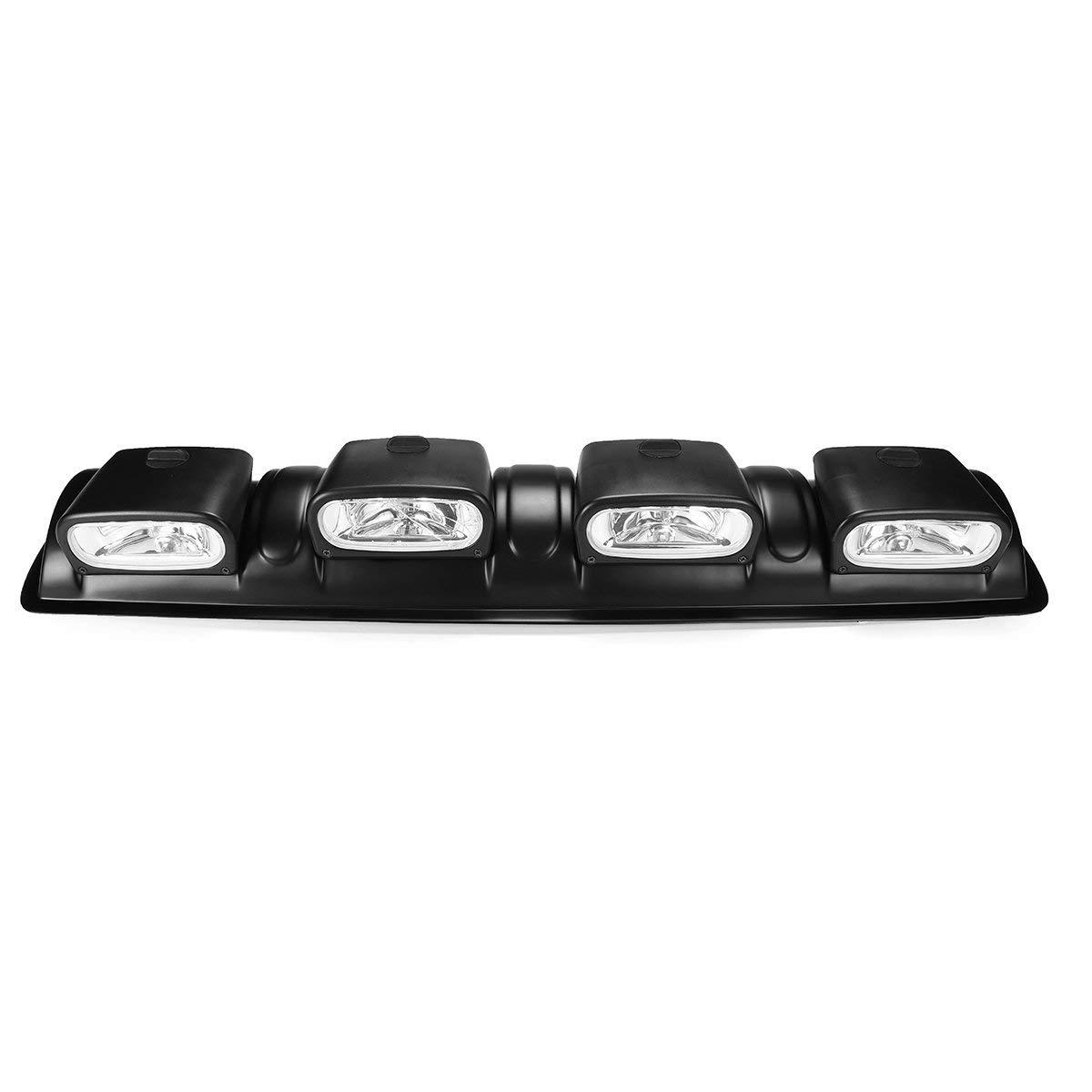 Fincos 12V H3 Black Car 4x4 Roof Top Bar Fog Lights Universal Off Road Spot Head Lamps