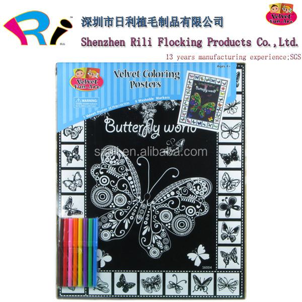 Customized Velvet Art Colouring Boards Wholesale With Felt Tip Pen ...