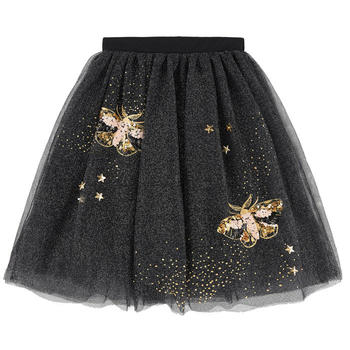 2018 wholesale custom brand glitter decoration tulle 3 layers girl tutu skirt