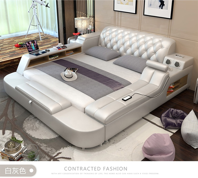 Foshan Factory Supply Super Big Tatami Smart Bed on Sale multifunction storage bed with massage music design of leather bed