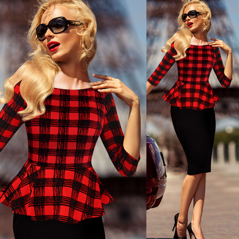 2017 winter new arrival plaid reffles long sleeve dresses for office ladies F2053