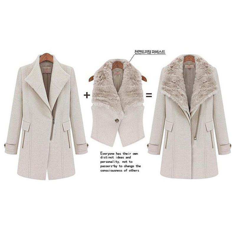 Два пьесы верхняя одежда desigual мех воротник психического молния длинная шерсть зима женщины пальто