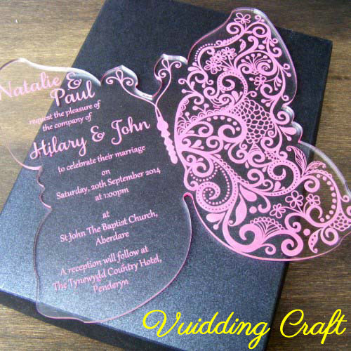 Classic Luxury Ceremony Elements Butterfly Shape Clear Acrylic Wedding Invitation Card