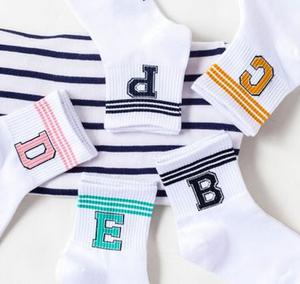 346291168 New letter stripe women sports socks three bar combed cotton sock women  socks wholesale