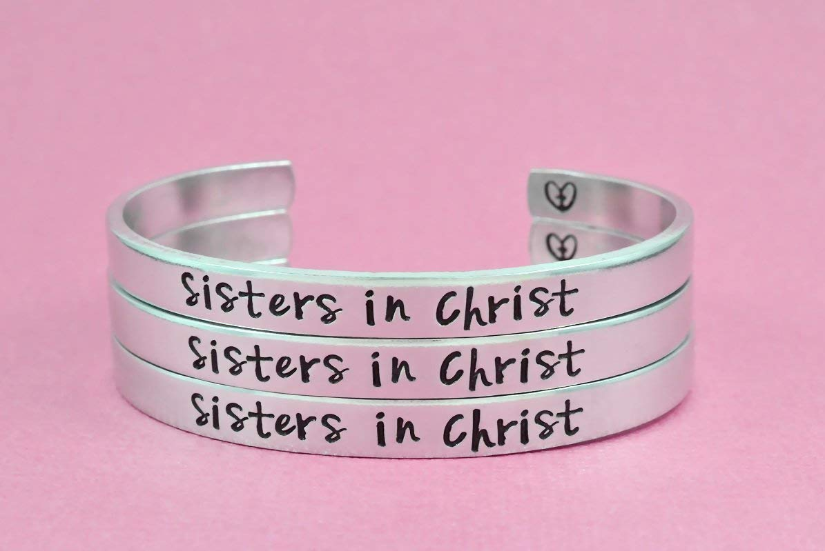 Sisters in Christ - Hand Stamped Aluminum Cuff Bracelets Set of 3, The Church Sisters Bracelets, Religious Jewelry, Cross Heart Bracelets