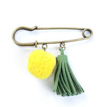 Fashion Antique Bronze Yellow Faux Suede Velvet Tassel Pom Pom Ball Pin Brooches