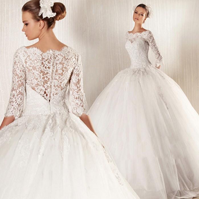 French Lace Long Sleeve Boat Neck Princess Bride Wedding