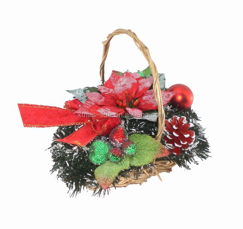 "5""x8"" artificial flower christmas wreath with rattan basket"