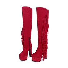 Women Ladies Fashion Winter Suede Snow Dance Chunky High Heel Boots in Bulk Wholesale