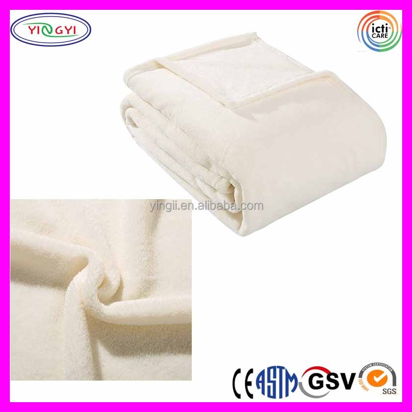 C860 Coral Fleece Throw Twin Outlet Blanket Soft Adults Plush Ivory Blanket Factory Outlet