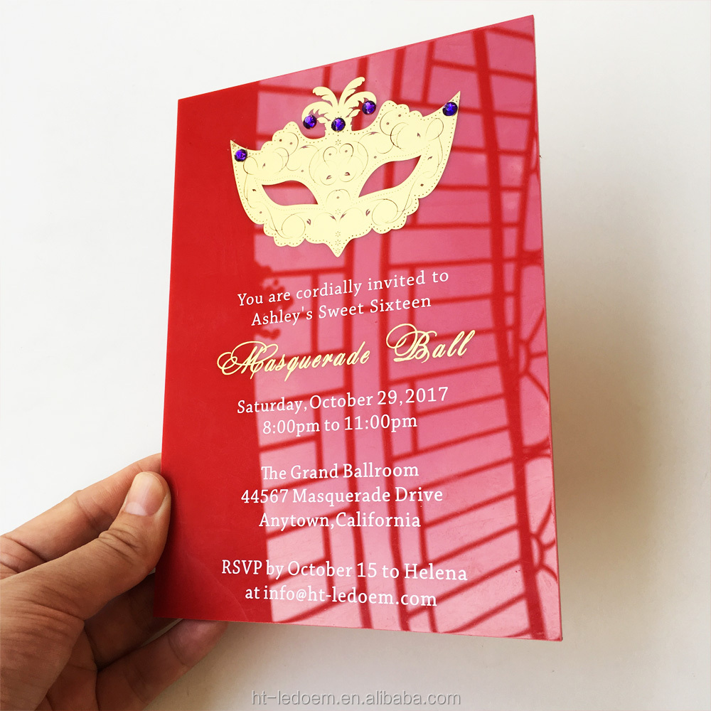 Customized 5x7inch Red Acrylic Birthday Invitation Card Sweet Sixteen Masquerade Ball Invitation Card 100pcs Per Lot