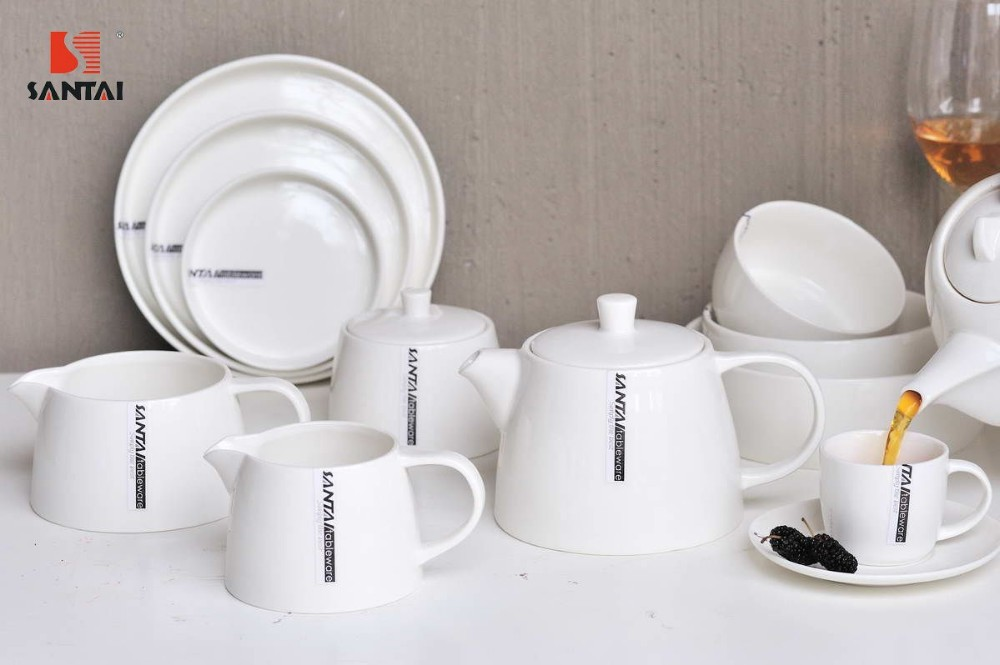 ocio estilo blanco y forma redonda juegos de vajilla de porcelana para hoteles restaurante