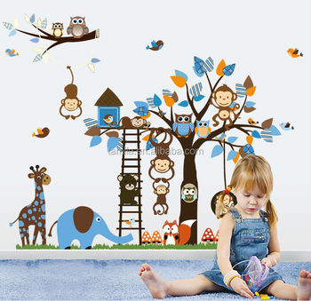 Extra Large Size Kids Cartoon Monkey Giraffe Owl Bird Wall Stickers