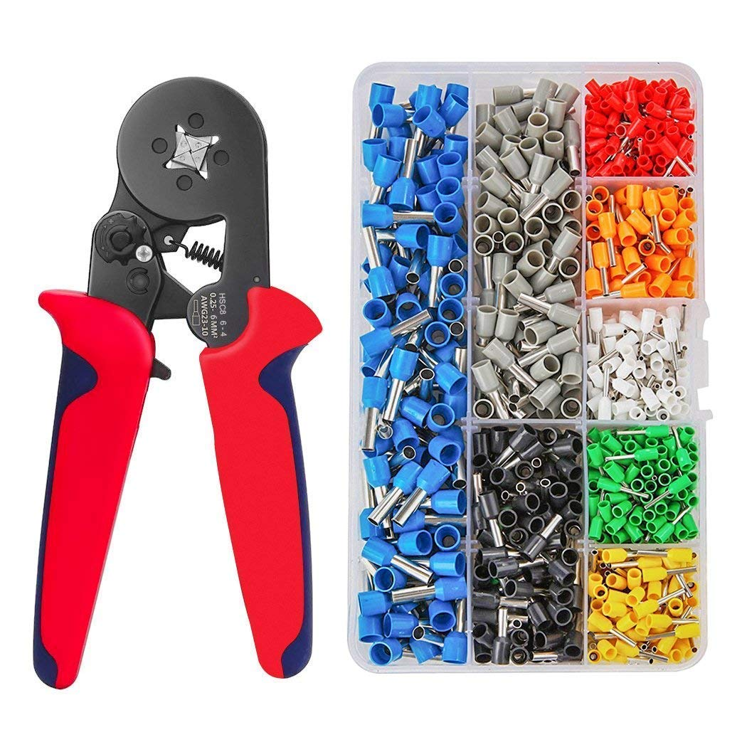 Wire Crimping Tool Kit, Qiunuo Ferrule Crimping Plier Tools with 800pcs Wire Ferrule Terminals Kit Insulated 0.25-6.0mm², AWG 23-10 Crimp Tool Kit for Wiring Projects
