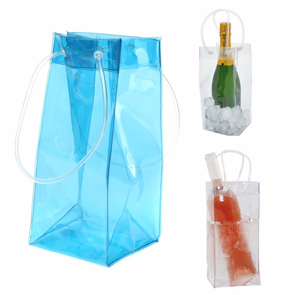 Clear transparent pvc wine ice bag with handles
