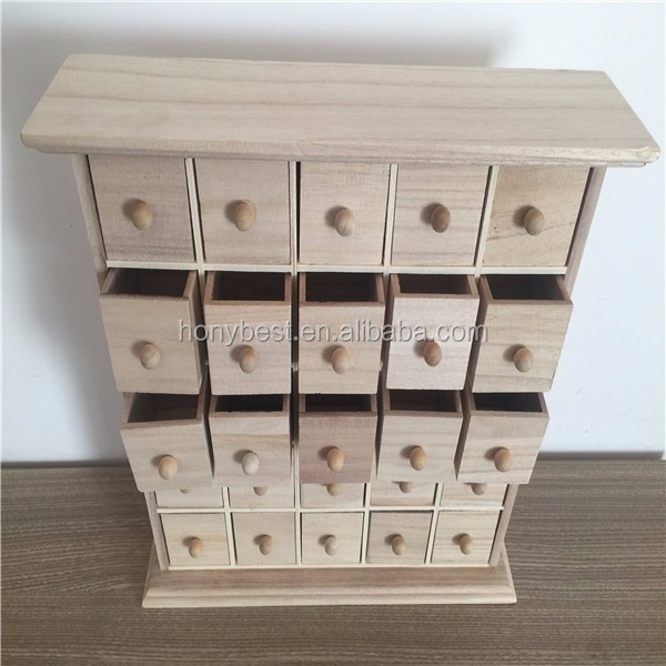 Unfinished Plain Paulownia Wood Advent Calendar Storage