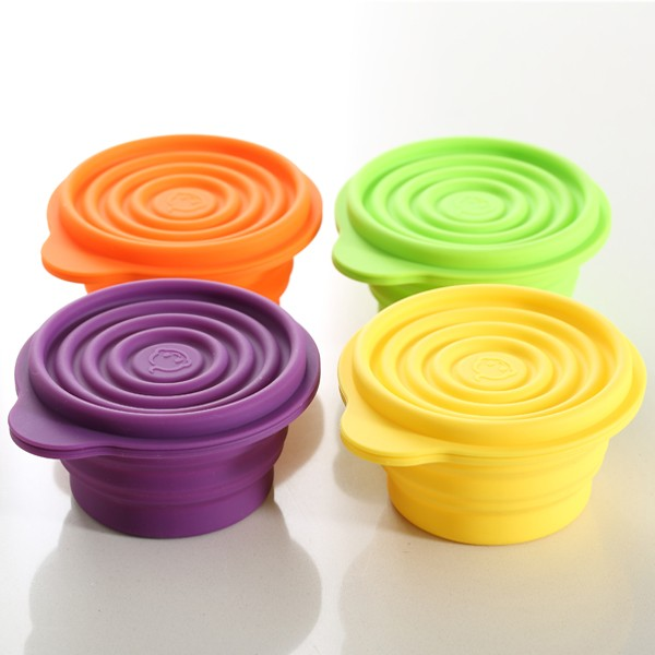 Food safe silicone collapsible bowl for camping