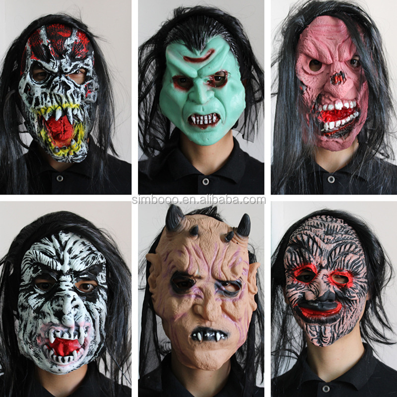 2017 Warehouse Halloween masks, bar decorations, super scary devil latex masks