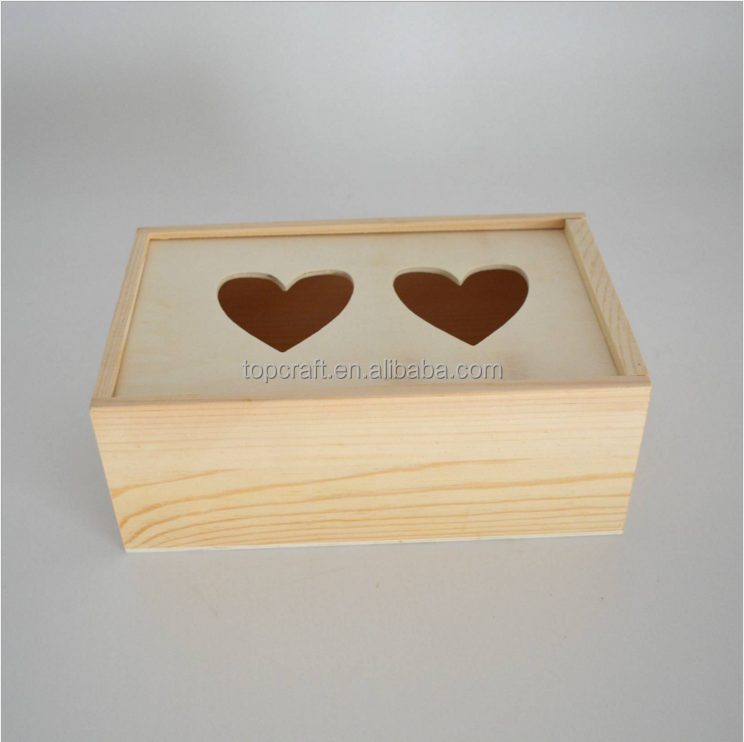 2017 Unfinished Decorative Sliding Top Wooden Christmas Gift Box with Heart Cutout lid