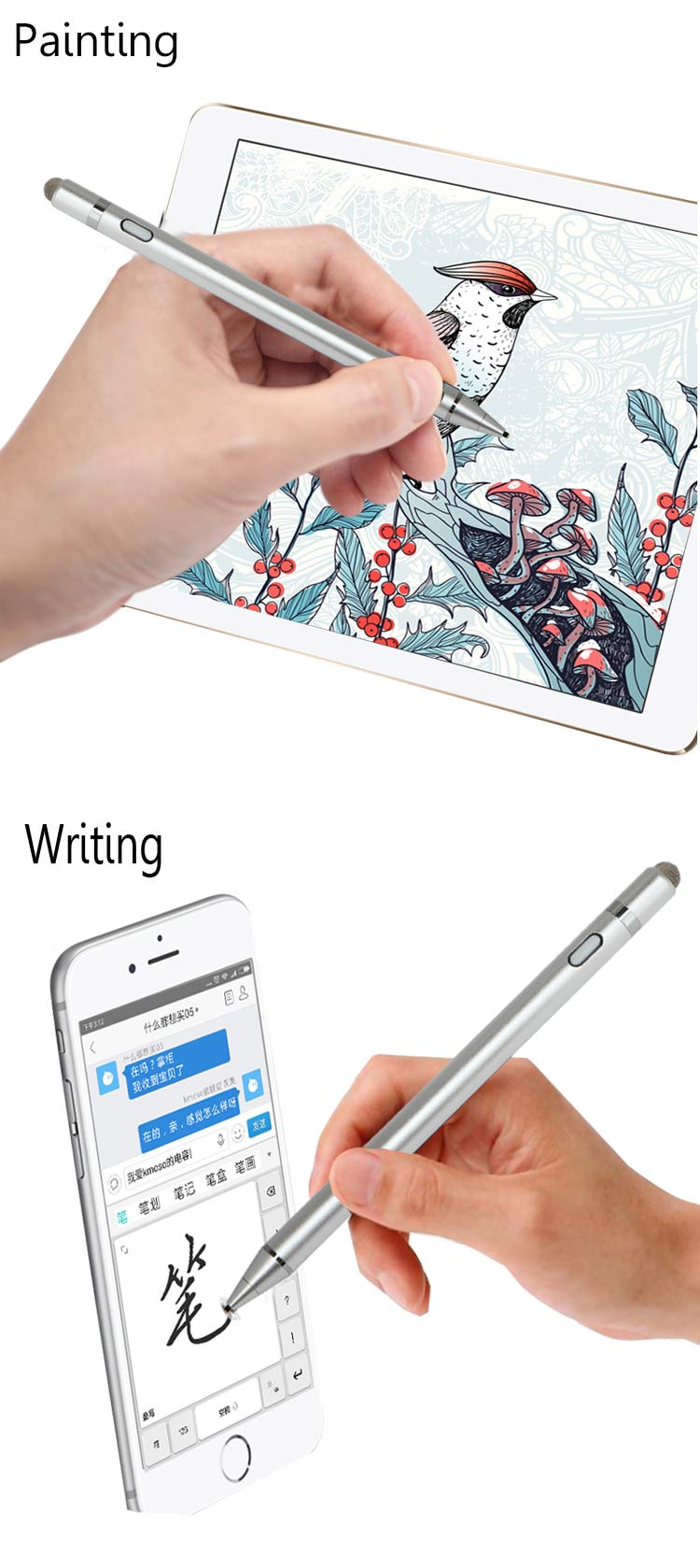 1.45mm Nib Diameter 2 In 1 Active Passive Capacitive Touch Screen Stylus Pen With USB