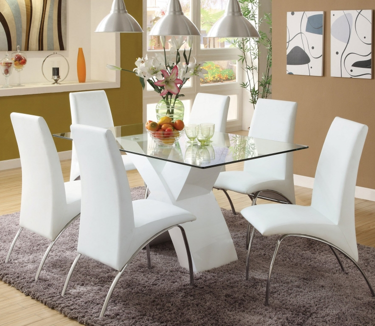 Modern chrome dining table and chair sets