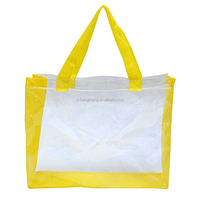 High quality clear pvc handle bags for shopping waterproof pvc beach bag clear vinyl pvc bags with handles