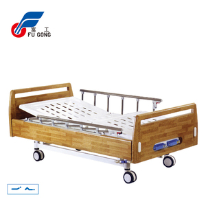 New arrival 2 cranks wooden manual wholesale prices hospital bed for paralyzed patients