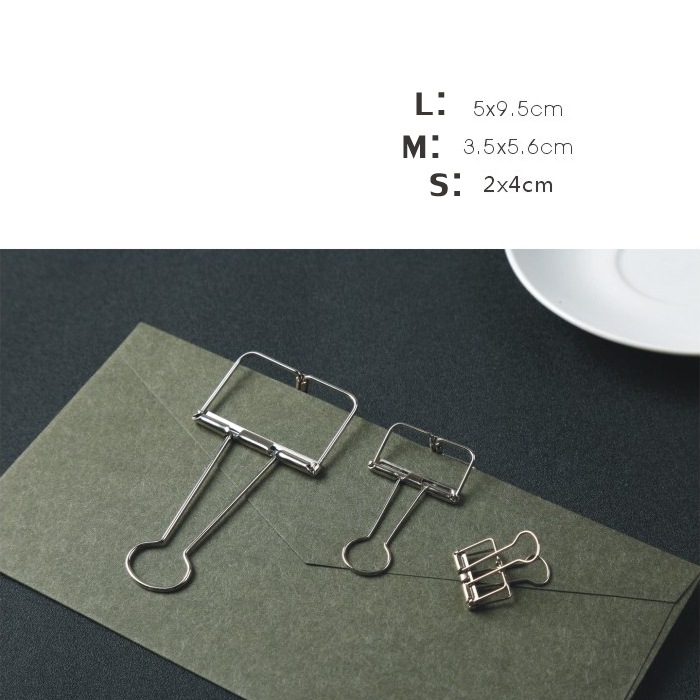Effen Kleur Holle Metalen Bindmiddelenklemmen Notities Brief Papier Metalen Clips Kantoorbenodigdheden Map
