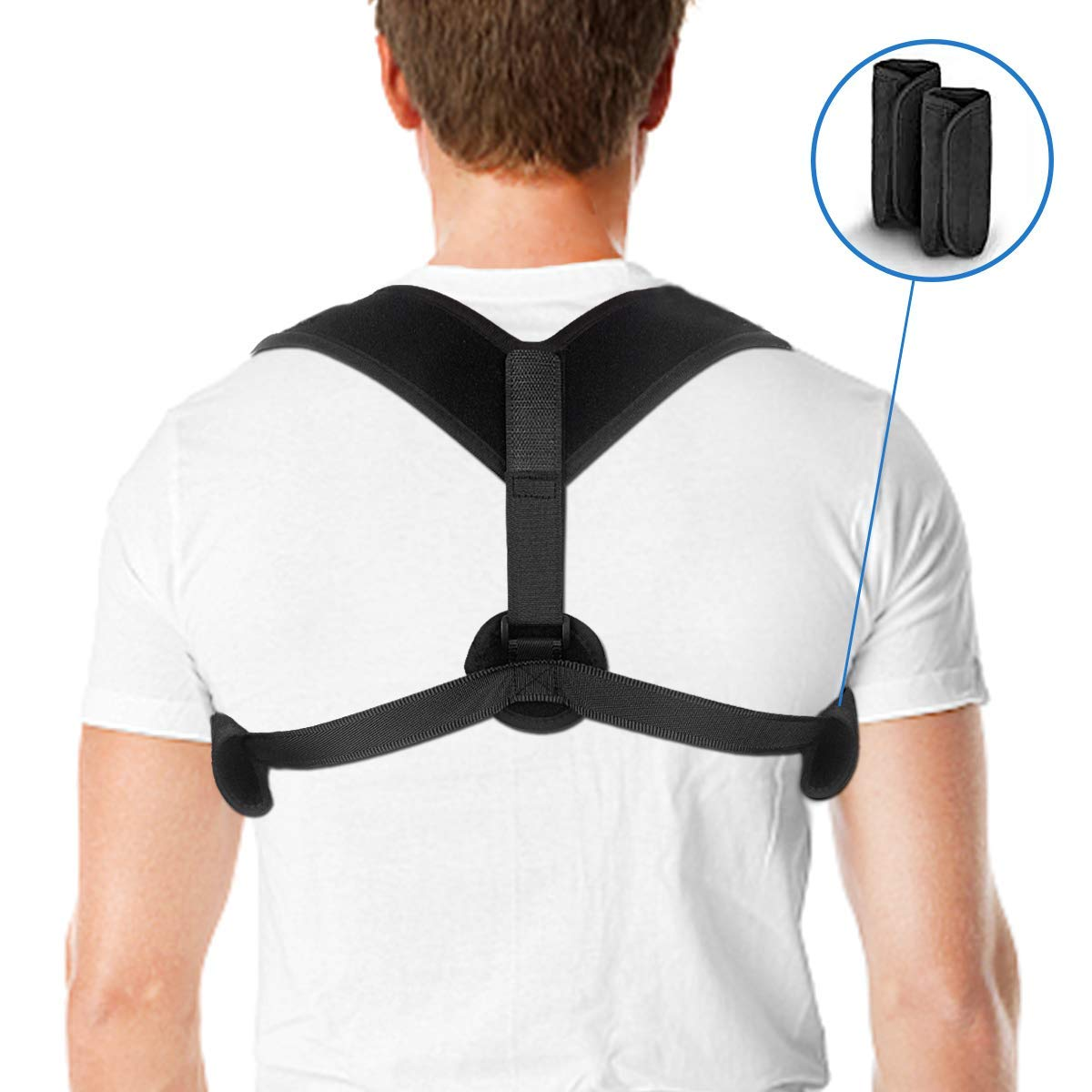 Chuandaxin Back Posture Corrector, CDX Back Brace Posture Corrector Adjustable for Women Men Clavicle Support with Detachable Comfortable Armpit Pads for Slouching, Thoracic Kyphosis, Injury Rehab