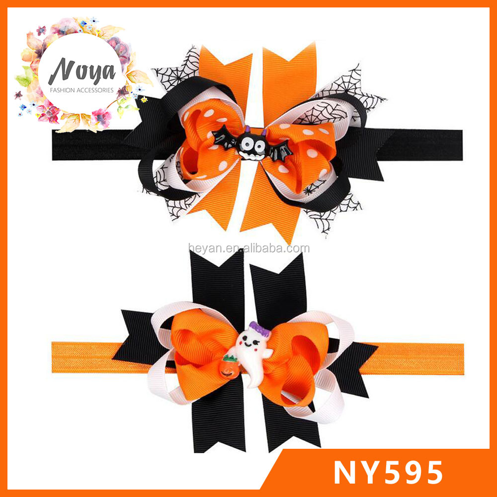 halloween hair bows,orange-black-white ribbon hair bows clips and