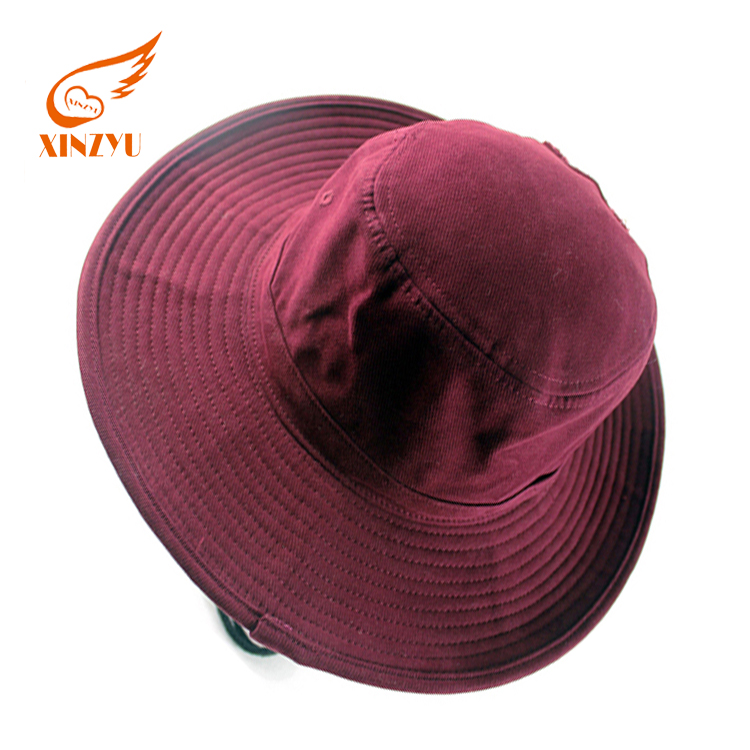 Trendy large brim bucket hats cotton plain maroon anime bucket hat for sale a6f836dbf12