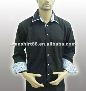 100%Organic cotton High quality Fancy dark blue men shirt with Double collar and Embroidered logo