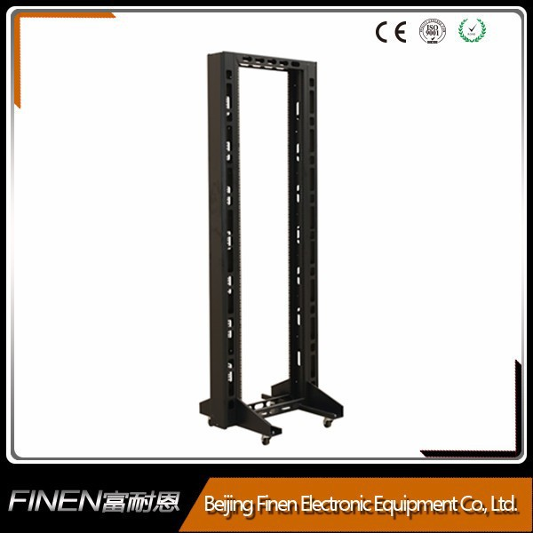 "19"" 2-post free standing adjustable steel open rack"